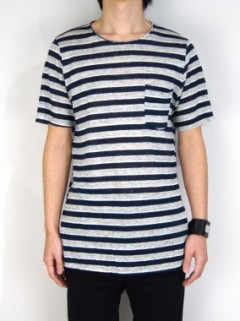 STRIPE LINEN RAW T-SHIRT