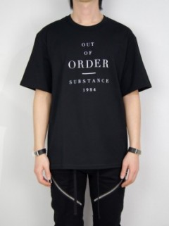 OUT OF ORDER Print Fine Cotton T-shirt (BLACK)