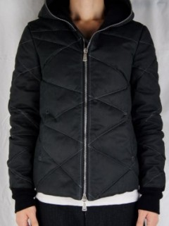 LEATHER HOODED DOWN JACKET