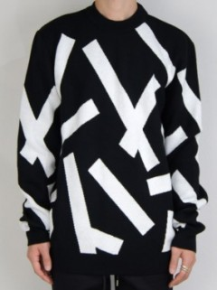 STRIP TAPE CREW NECK KNIT