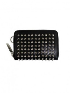 "LEATHER COIN/CARD/KEY CASE FOLD ""ALL-STUDS"" POINTU"