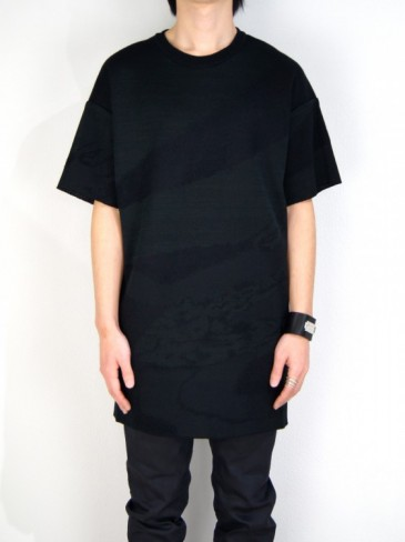CAPRICIOUS CREW NECK BIG KNITWEAR (BLACK・BLUE MIX)