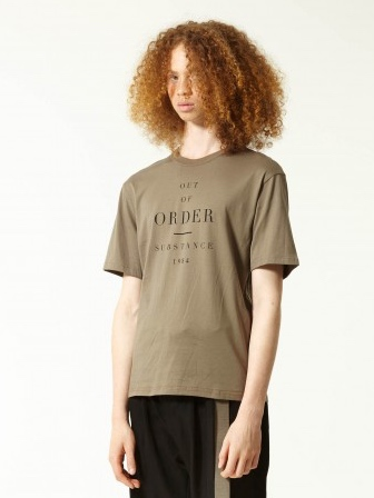 OUT OF ORDER Print Fine Cotton T-shirt (OLIVE)
