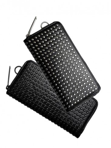LEATHER LONG WALLET FOLD 'ALL-STUDS'