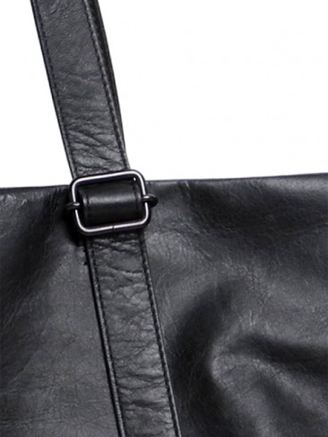 Leather tote wide 'papier'