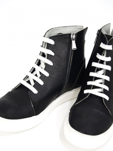 SIDE ZIP LEATHER SNEAKERS(BLACK×WHITE)
