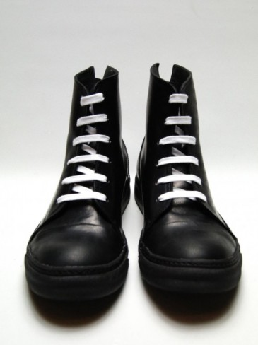 SIDE ZIP LEATHER SNEAKERS(BLACK×BLACK)