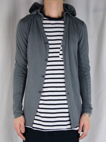 SILK×COTTON HOODED CARDIGAN