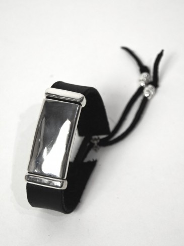 Silver plate Leather braceret
